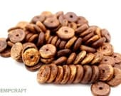 Wood Disc Beads, Caramel Brown Flat Disc Beads, 12mm - 100pc Full Strand
