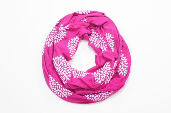 INFINITY SCARF - Screen Printed - White Flowers on Bright Pink