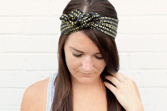 Twist Hair Scarf - Screenprinted Wire Headband - Gold Triangles on Black