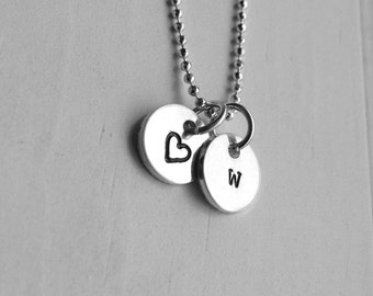 Initial Necklace, Letter w Necklace, Tiny Heart Necklace, Personalized Jewelry, Sterling Silver Jewelry, Initial, Charm Necklace,All letters