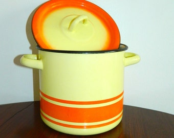 vintage 1960s enamel stock pot yellow orange striped pan lid MCM