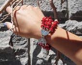 Red Coral Chip Bracelet with Bali Sterling Silver Breads, Christmas Jewelry, 35th Anniversary Gift, Bohemian Multistrand Bracelet