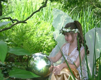 Tinkerbell Green Shamrocks Fairy Wings Faerie Queen gown dress up adult s Child l Halloween costume angel celtic goddess cosplay larp elf