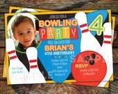 Retro Bowling Birthday Party Invitation, Photo Birthday Invitation, Bowling Party -- Any Color