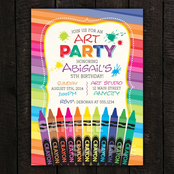 crayon invitation art invitation paint invitation kids