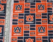 1 Yard Auburn University Collegiate Block Print Fabric