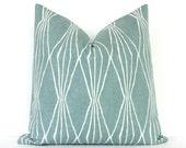 Powder Blue Geometric Decorative Designer Pillow Cover Accent Throw Cushion modern diamonds shapes light robins egg blue ivory rain aqua