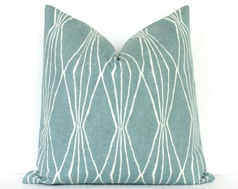 Powder Blue Geometric Decorative Designer Pillow Cover Accent Throw Cushion modern diamonds shapes light robins egg blue ivory rain aqua