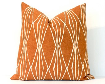 Orange Geometric Decorative Designer Pillow Cover Accent Throw Cushion modern diamonds shapes fall ivory pumpkin tangerine celosia orange