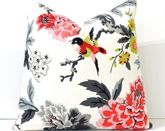 Modern Pink and Black Decorative Designer Pillow Cover Accent blossoms oriental floral chinoiserie grey ivory charcoal red chartreuse birds