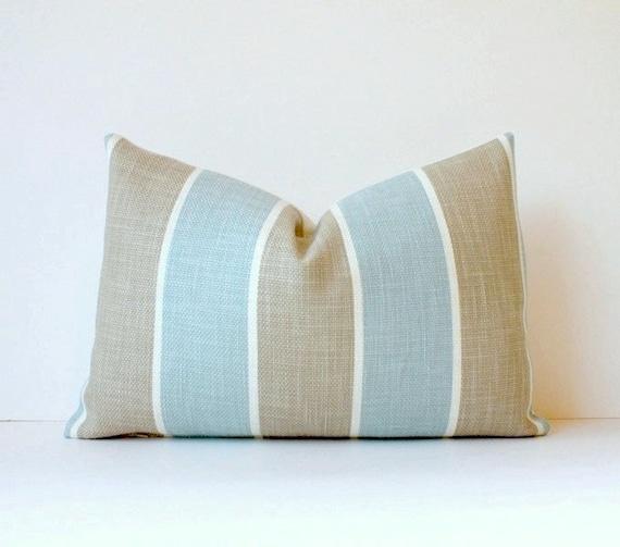 Striped Decorative Designer Pillow Cover 12x18 Robins Egg Blue. Lumbar Cushion. Nautical Pastel sky taupe tan