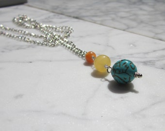 Archangel Sandalphon Pendant - Turquoise, Yellow and Orange Calcite