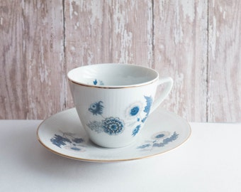 Demitasse Teacup and Saucer Blue Flower Bone China Czechoslovakia Cottage Decor Shabby Decor