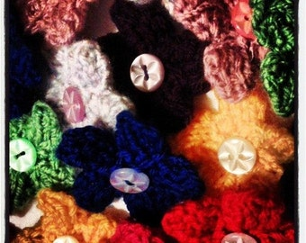 Mini Flower Brooch, Custom Colour Knitted Brooch