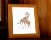 Dancing Giraffes Print Animal Love Kiss Childrens Nursery Playroom Art Home Decor