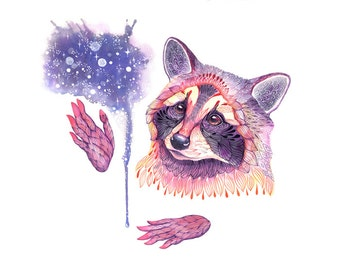 """Space Raccoon, Waschbär, high quality art print, """"Personal space"""", size A3"""
