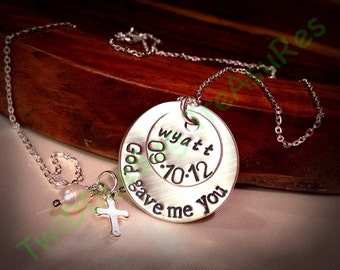 God Gave Me You - Sterling Silver - Hand Stamped Silver - God Gave Me You Necklace - Love