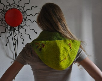 wonderful hooded scarf  handdyed and embroidery, -30% off price!
