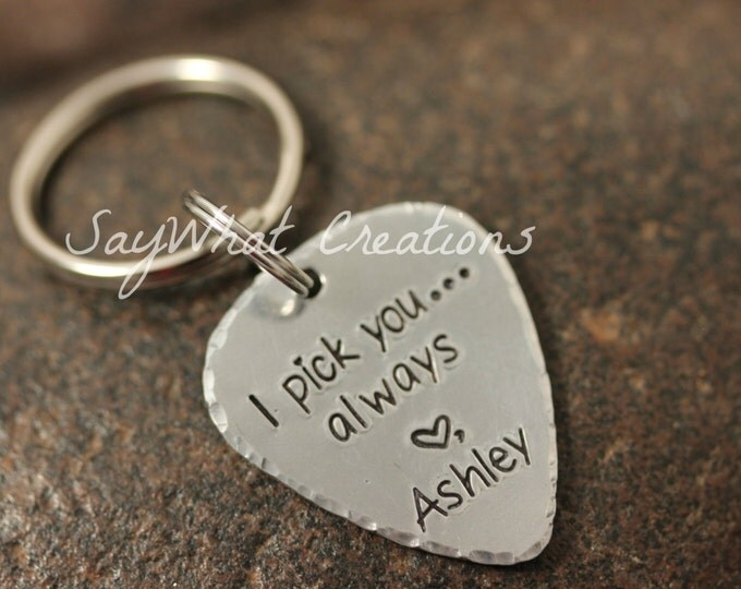Custom Hand Stamped Guitar Pick Key Chain
