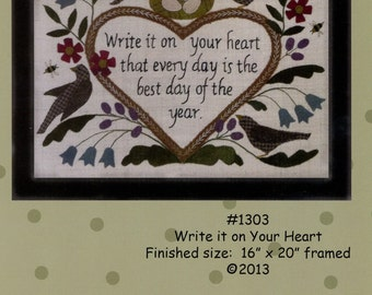 Write it on Your Heart Quilt Pattern - Quilt, Wallhanging Framed Quilt