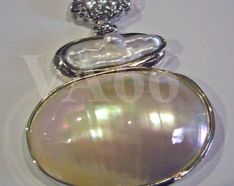 1p Shell Mother or Pearl 18KGP Chunky Pendant Findings 56mm x 46mm for Jewelry Making Supplies Mother of Pearl Shell Vintage Look