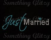 Just Married Turquoise and Clear Rhinestone Iron On Heat Transfer - DIY