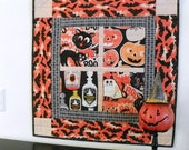 "Halloween Quilted Wall Hanging – Scaredy Cat ""Boo"""