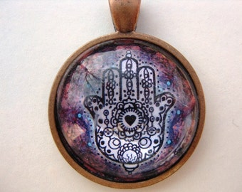 Yoga Necklace:  Hamsa on Mandala Necklace (017)