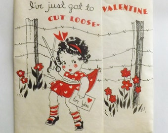 """Vintage Valentine card folding little girl with scissors and barbed wire fence """"cut loose"""""""