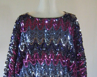 Ultra Glam ZigZag Sequin Disco Top Shirt
