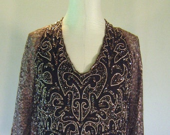 Brown Beaded Lacy Evening Shirt Top Diva Glam