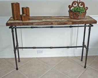 Reclaimed Wood and Pipe Table, Reclaimed Wood Console Table, Rustic Foyer Table, Barn Wood Hall Table