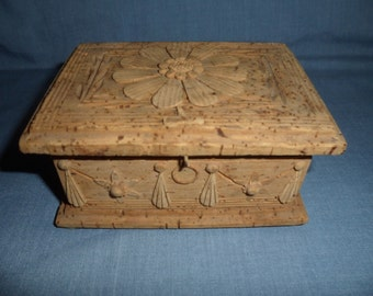 Antique Victorian Folk Art carved CORK Trinket Box