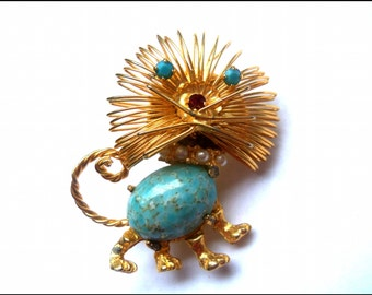 Vintage Gold Tone Lion Pin Brooch, Cat Pin, Turquoise, Pearls, Red Rhinestone