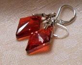 Swarovski Large Crystal Red Magma earrings