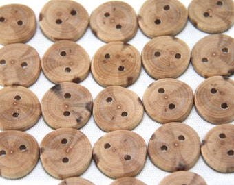 5 small beech buttons - 1""
