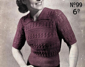 Patons and Baldwins Specialty Knitting 99, circa 1930s/1940s  - Vintage Knitting Pattern booklet PDF