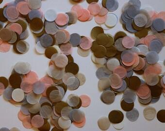 """Tissue Confetti- Pastel Confetti - 1"""" Circle Confetti - Paper Confetti - Wedding Confetti - Balloon Confetti:  Pastel & Gold"""
