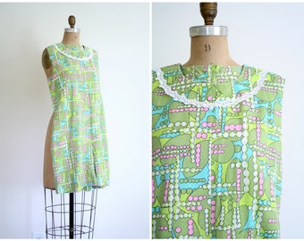 1960s printed cotton romper - one piece shorts / geometric pastel print - vintage 60s summer romper / mod playsuit romper
