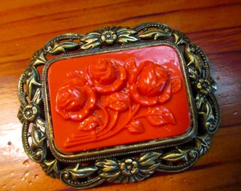 Divine 1930's Art Deco Vintage Etched, Pierced and Embossed REPOUSSE Brass & Carved Orange/Red CORAL CELLULOID Roses Pin/Brooch - Very Rare
