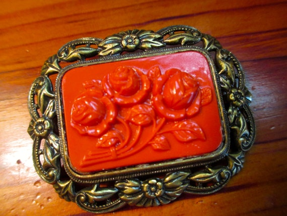 Divine 1930's Art Deco Vintage Etched, Pierced and Embossed REPOUSSE Brass & Carved Orange/Red CORAL CELLULOID Roses Pin/Brooch