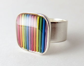 CLEARANCE Rainbow Ring — Colorful Domed Computer Cable, Adjustable Size