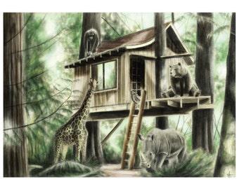 8x10 Illustration Print - 'Home Amongst The Trees'