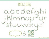 Spring Flower Alphabet made with Tree Branches - Blog Graphics - Instant Download