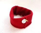 Cashmere Earwarmer Headband RED Ear Warmer Head Band Upcycled Sweater Hair Accessory by WormeWoole