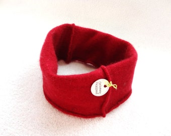 Cashmere Earwarmer Headband RED Ear Warmer Head Band Upcycled Sweater Hair Accessory by WormeWoole