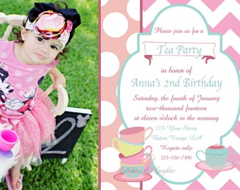 Chevron Tea Party Invitation / Tea Party Birthday Invitation / Tea Party / Dress Up Birthday Invitation Digital File 5x7 Non Photo Option