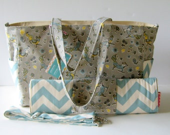 MADE TO ORDER Fox Diaper Bag Set, Changing Pad, Magnetic Closure, Adjustable Long Strap, available in two styles