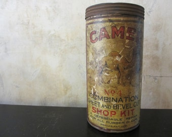 Vtg Camel Patch rubber goods repair shop kit canister / storage supply, organization / graphic industrial decor / studio shop