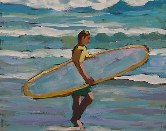 """Surfer Painting- Archival Print- 6""""x6"""" -""""October Swell"""""""